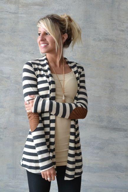 Striped-cardigan